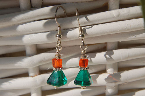 Emerald/Orange Earrings