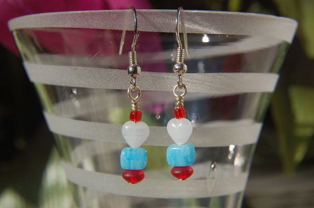 Blue Cube/White Heart Earrings