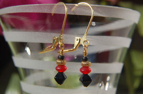 Gold/Red/Black Earrings