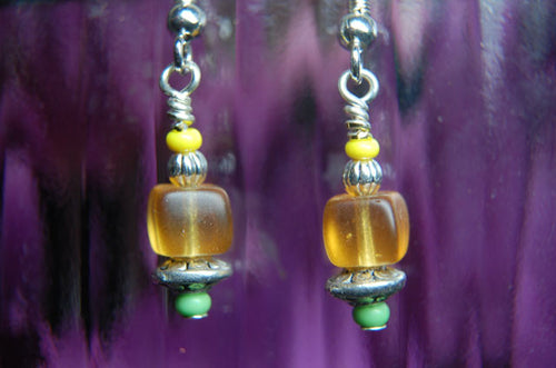 Yellow Cube Earrings