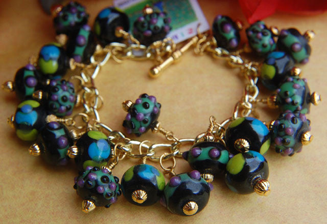Chunky Lampwork Bracelet - Blue Green Purple & Black