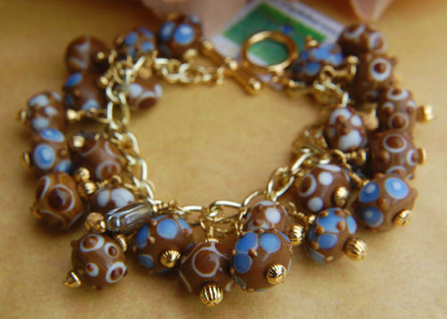 Chunky Lampwork Bracelet - Blue White & Brown
