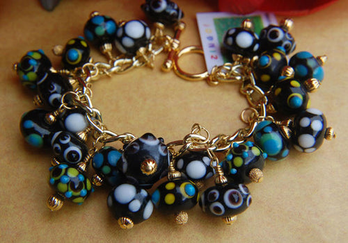 Chunky Lampwork Bracelet - Blue Yellow Black & White