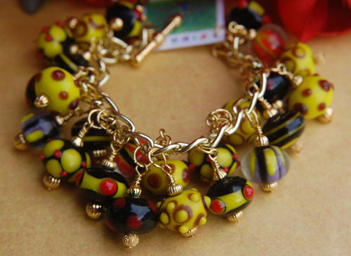 Chunky Lampwork Bracelet - Yellow Black & Red
