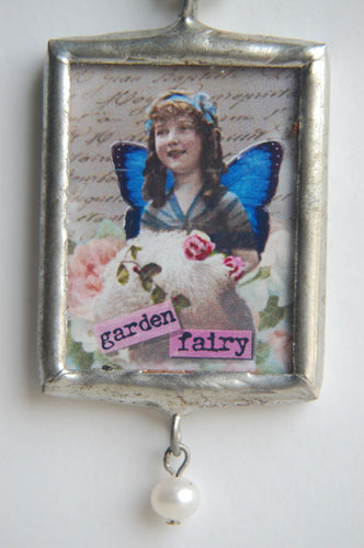 Art Collage Pendant - Garden Fairy