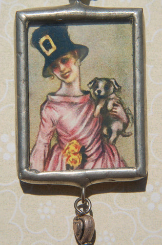 Art Collage Pendant - Happiness & Puppies