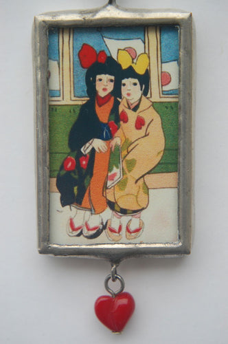 Art Collage Pendant - My Best Friend (Red Heart)