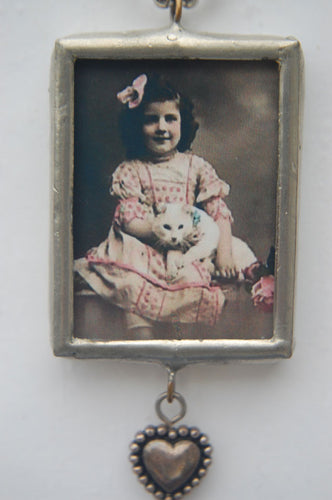 Art Collage Pendant - If You Want A Kitten (Pink Dress)