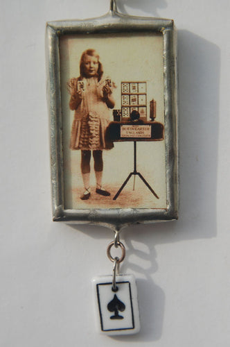 Art Collage Pendant - Accept Your Genius (Spade)