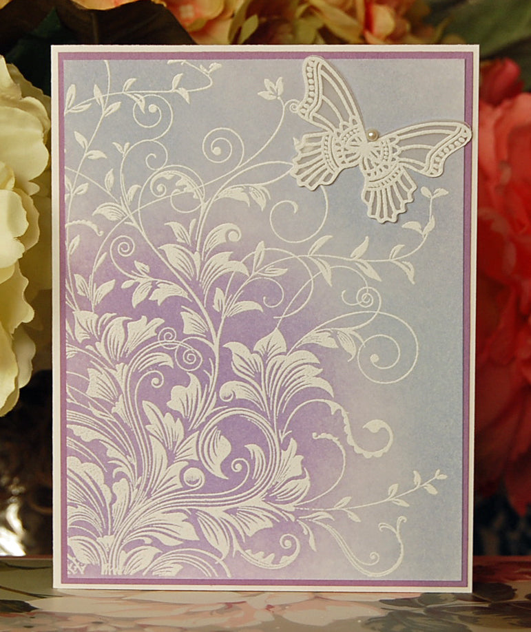 Floral Scrolls with Butterfly - Purple