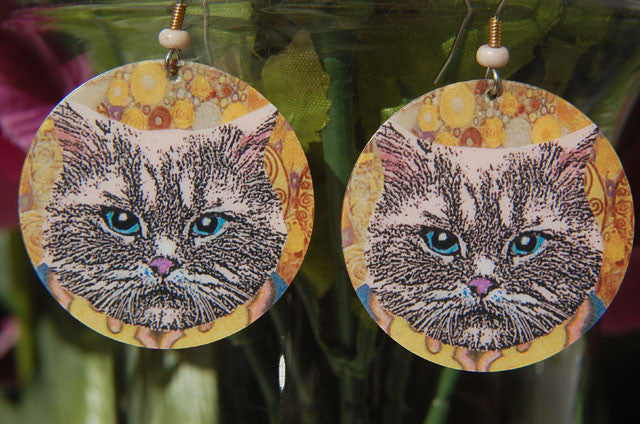 Watercolor Earrings - Cat - Blue Eyes with Yellow Background