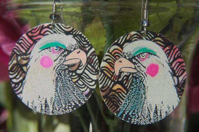 Watercolor Earrings - Eagle - White with Pink Cheeks