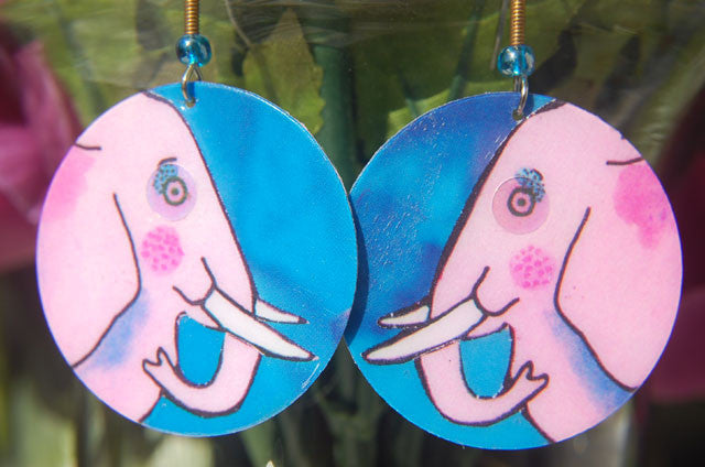 Watercolor Earrings - Elephant - Pink with Blue Background