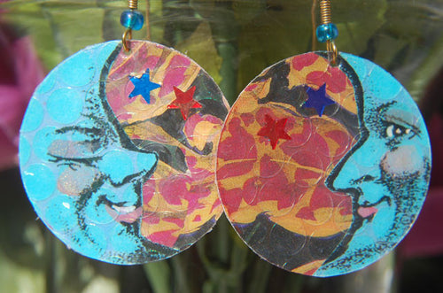 Watercolor Earrings - Moon - Blue with Red & Blue Stars