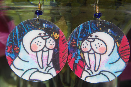 Watercolor Earrings - Walrus - White with Red & Blue Background
