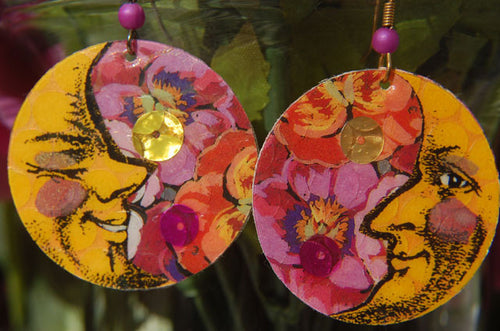 Watercolor Earrings - Moon - Yellow with Pink Floral Background
