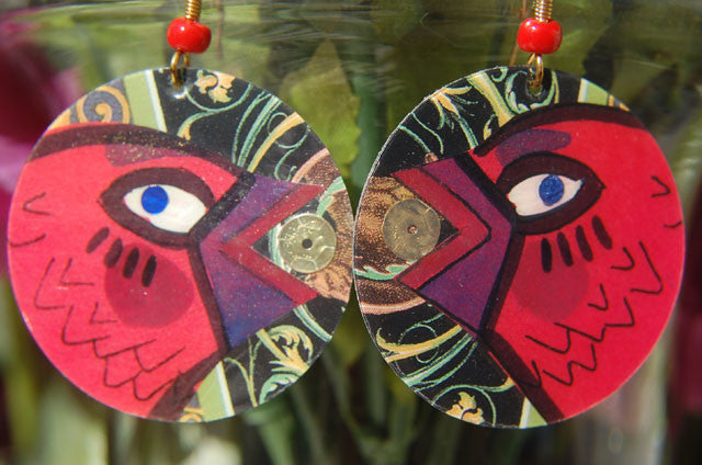 Watercolor Earrings - Chickaroo - Red with Gold Sequins