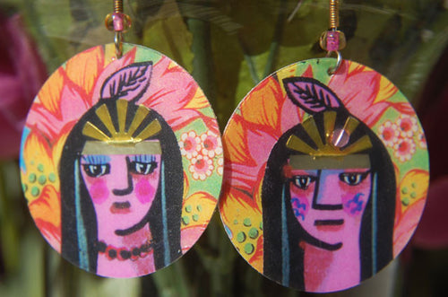 Watercolor Earrings - Maiden & Brave - Pink Feather
