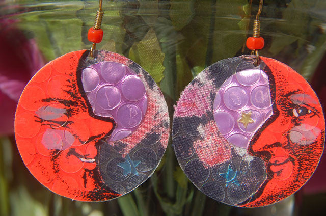 Watercolor Earrings - Moon - Orange with Pink Floral Background