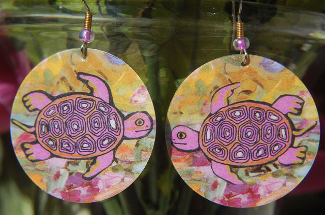 Watercolor Earrings - Turtle - Pink with Yellow Background