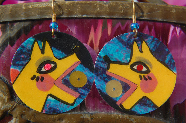 Watercolor Earrings - Barko - Yellow with Blue Background