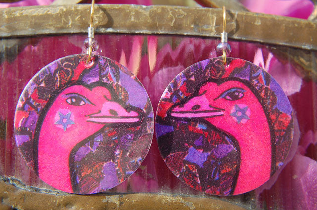 Watercolor Earrings - Ostrich - Fuchsia with Purple Background