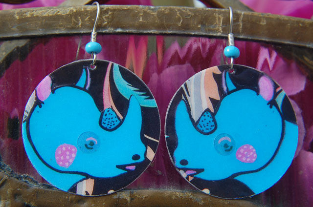 Watercolor Earrings - Rhino - Blue