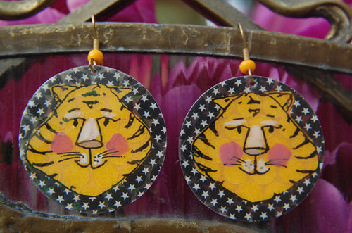 Watercolor Earrings - Tiger - Yellow and Black