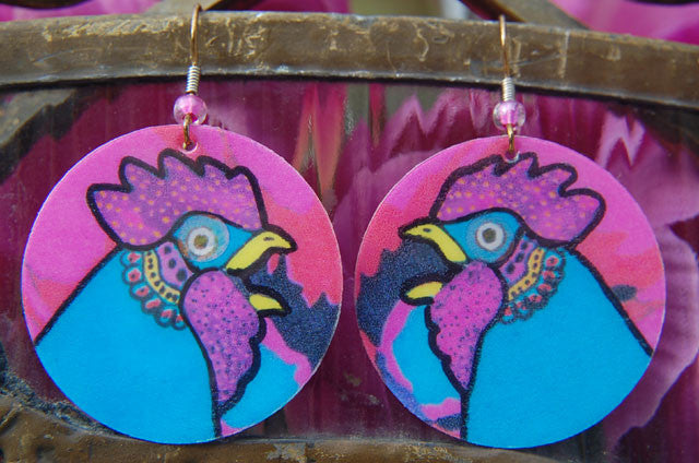 Watercolor Earrings - Rooster - Blue