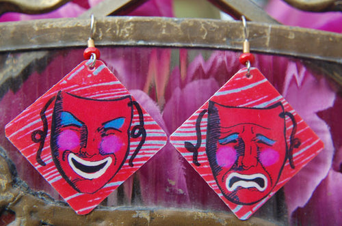 Watercolor Earrings - Comedy & Tragedy Masks - Red