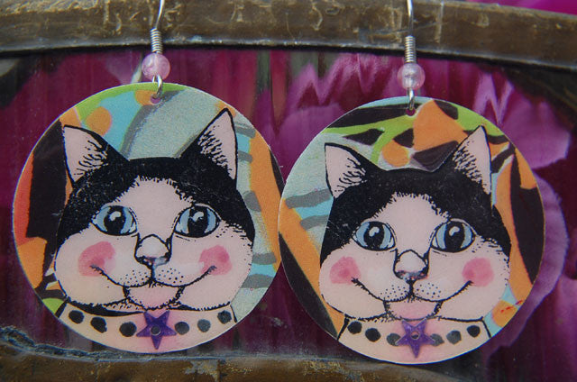 Watercolor Earrings - Cat - Pink with Pearls/Star