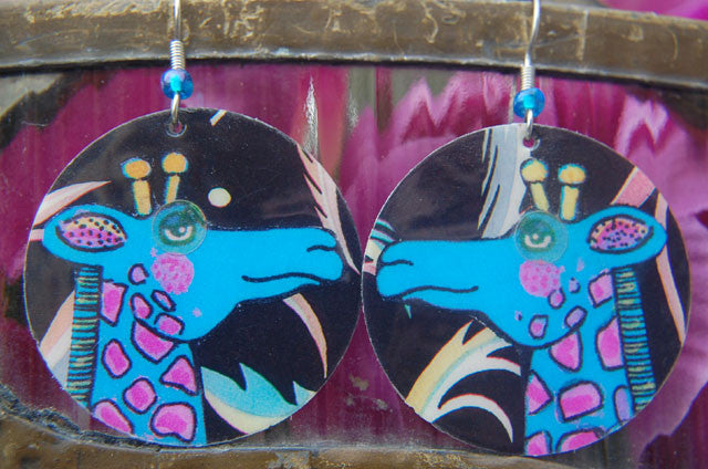 Watercolor Earrings - Giraffe - Blue