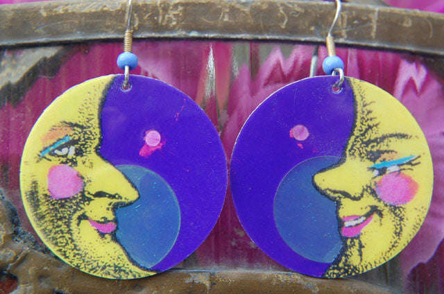 Watercolor Earrings - Moon - Yellow with Purple Background