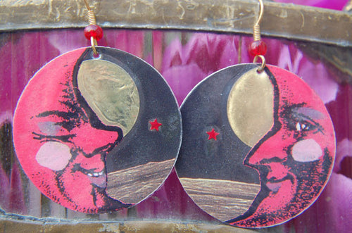 Watercolor Earrings - Moon - Red with Gold