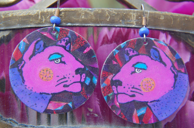 Watercolor Earrings - Big Cat - Pink & Purple