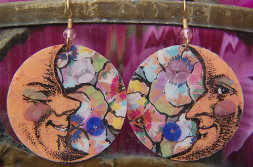 Watercolor Earrings - Moon - Peach with Blue Sequin