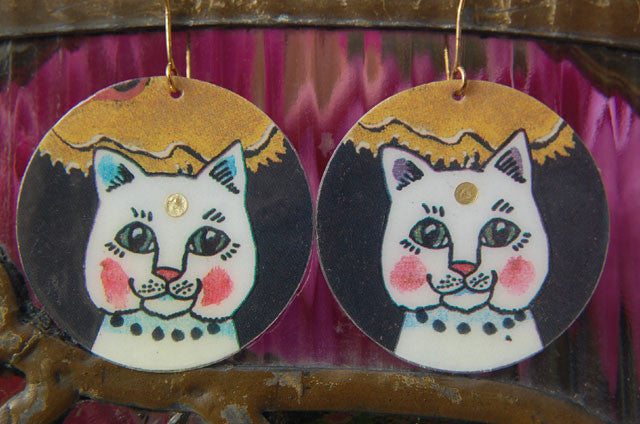 Watercolor Earrings - Cat - White with Gold Dot