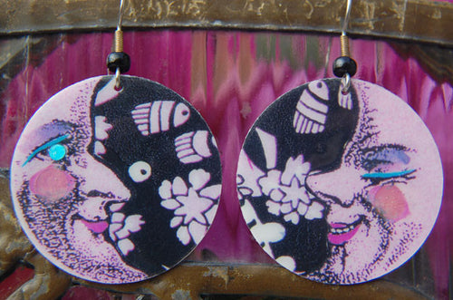 Watercolor Earrings - Moon - Pink with Black & White Universe
