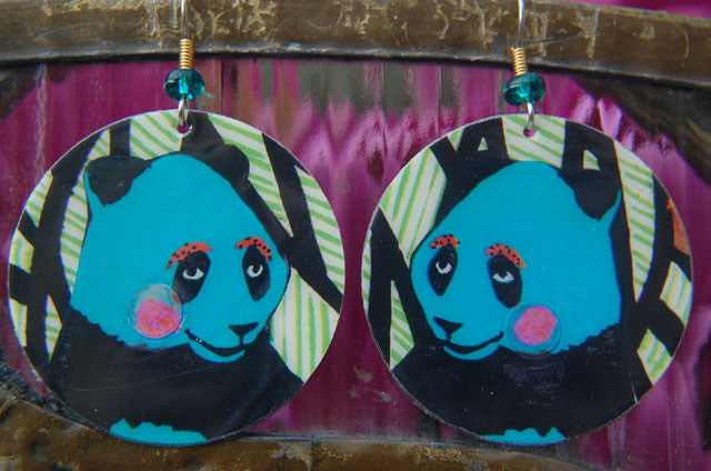 Watercolor Earrings - Panda - Blue