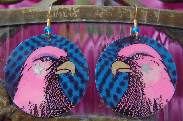 Watercolor Earrings - Eagle - Pink with Blue Background