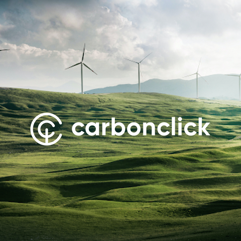 green fields with windmills overlayed with CarbonClick logo