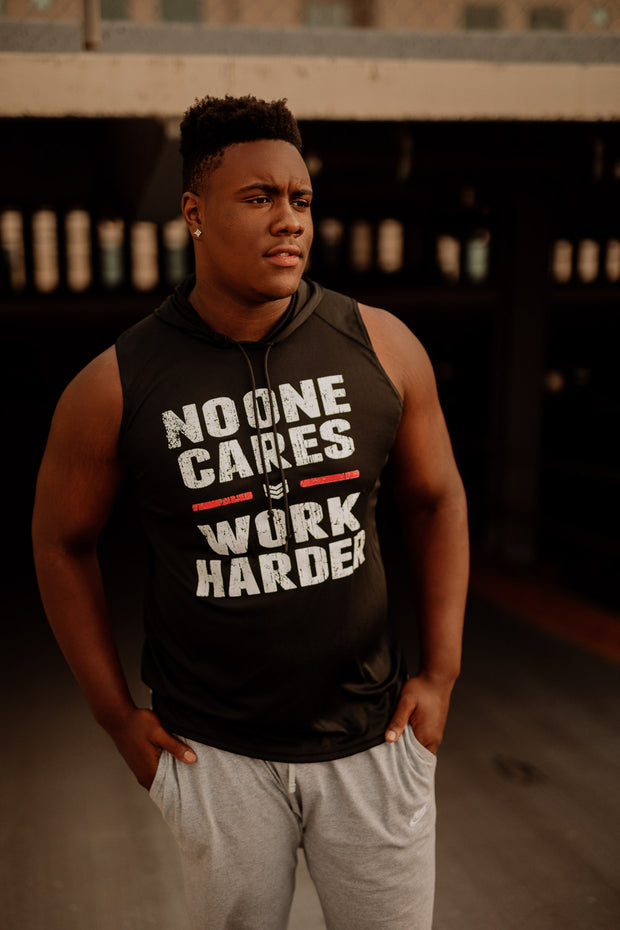 NO ONE CARES FOOTBALL SLEEVELESS HOODIE