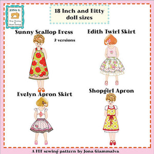 "Jona Giammalva Doll Combo 1 (4 patterns) 18"" and baby doll pdf pattern e-book, 18 inch doll pattern"