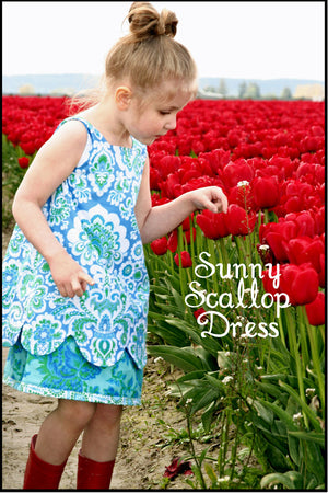 Sewing Pattern - Sunny Scallop Dress - Sizes 2T up to 10 - PDF Sewing Pattern - Download