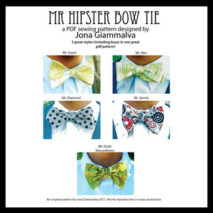 Mr. Hipster Bow Tie Pattern - eBook pdf - Men and Boy's bow tie pattern - instant download