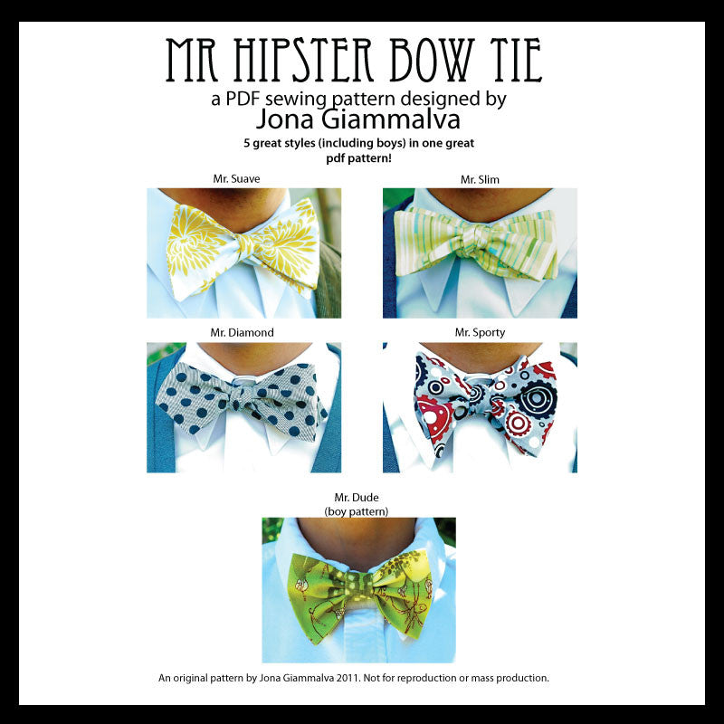 Mr. Hipster Bow Tie Pattern - eBook pdf - Men and Boy\'s bow tie ...