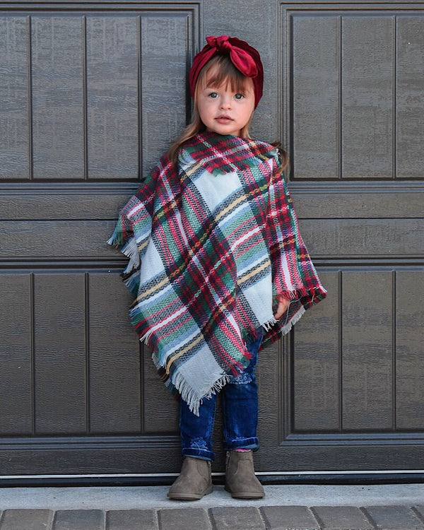 Plaid Poncho White - Castle Rose Boutique