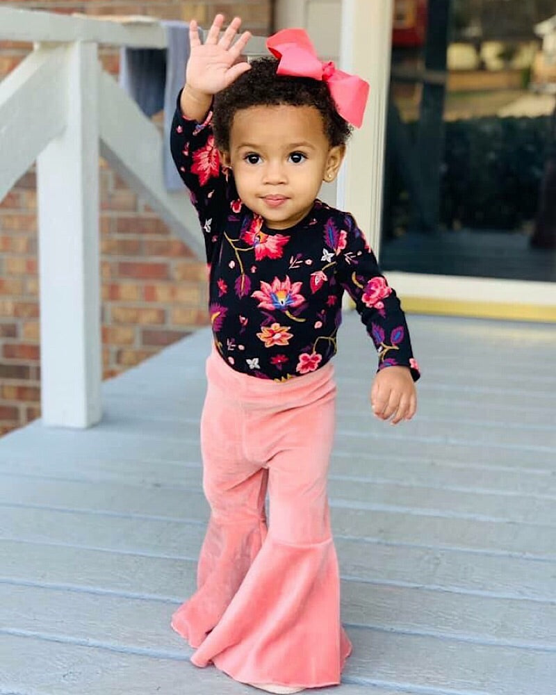 Velvet Bell Bottoms Pink - Castle Rose Boutique