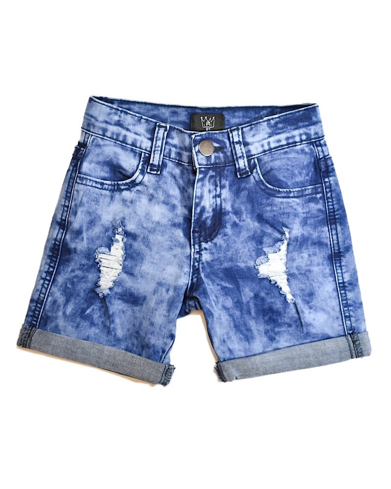 CRB Distressed Denim Shorts Long