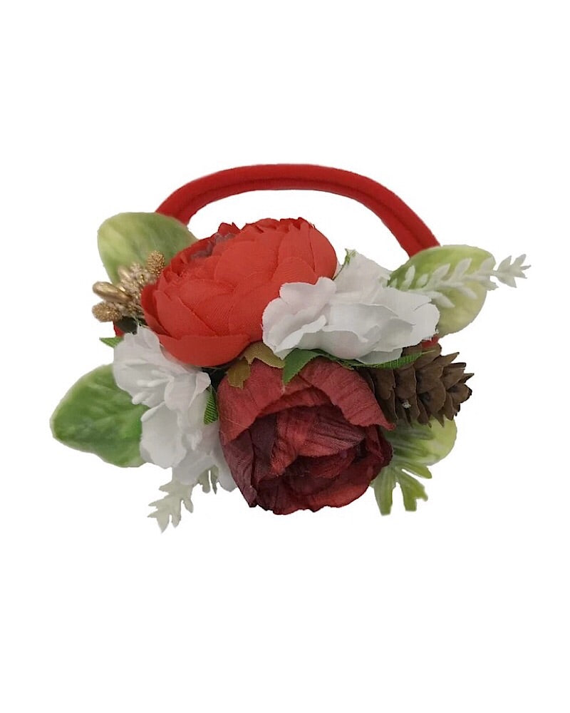 Floral Nylon Headband Red - Castle Rose Boutique